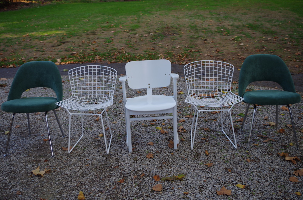 ix of vintage design chairs, tapiovaara, saarinen, jacobsen, bertoia