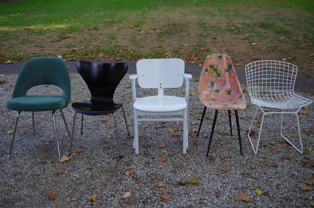 ix of vintage design chairs, tapiovaara, saarinen, jacobsen, bertoia