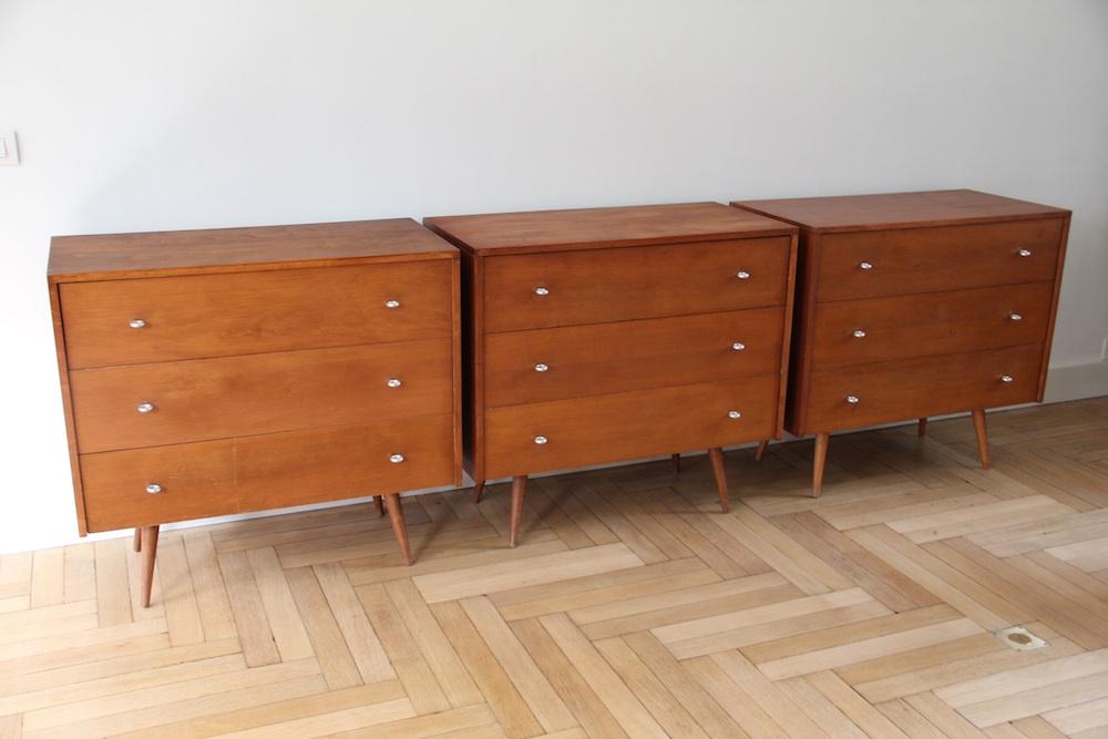 Set of 3 Paul McCobb dressers vintage