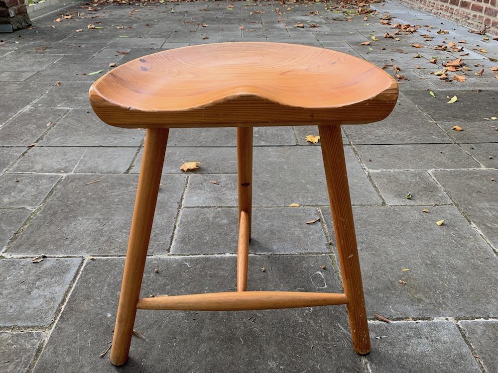 tripod stool, wooden stool, vintage stool, vintage wooden stool, design stool, vintage design stool, pine, pine stool