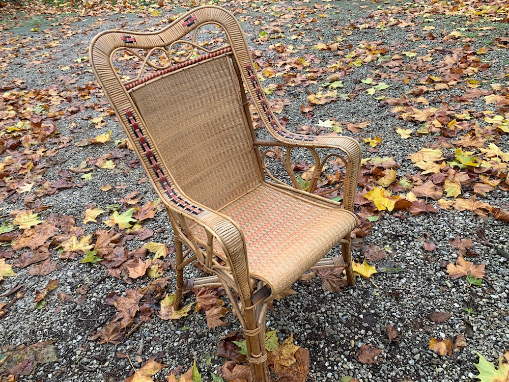 bamboo and rattan chair, bamboo chair, rattan chair, lounge chair, vintage lounge chair, early 20st century chair, garden chair, patio chair, terrace chair, rattan, bamboo