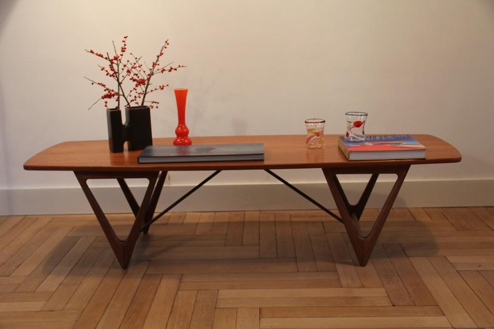 Kurt Ostervig vintage coffee table, Surfboard