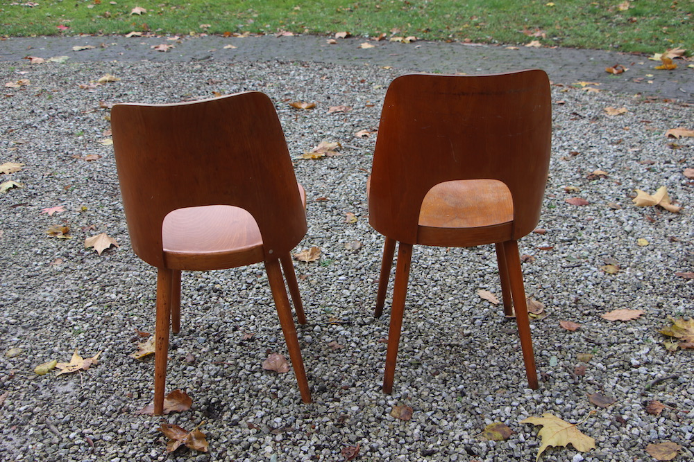 pair of Oswald Haerdtl chairs for TON, vintage chairs