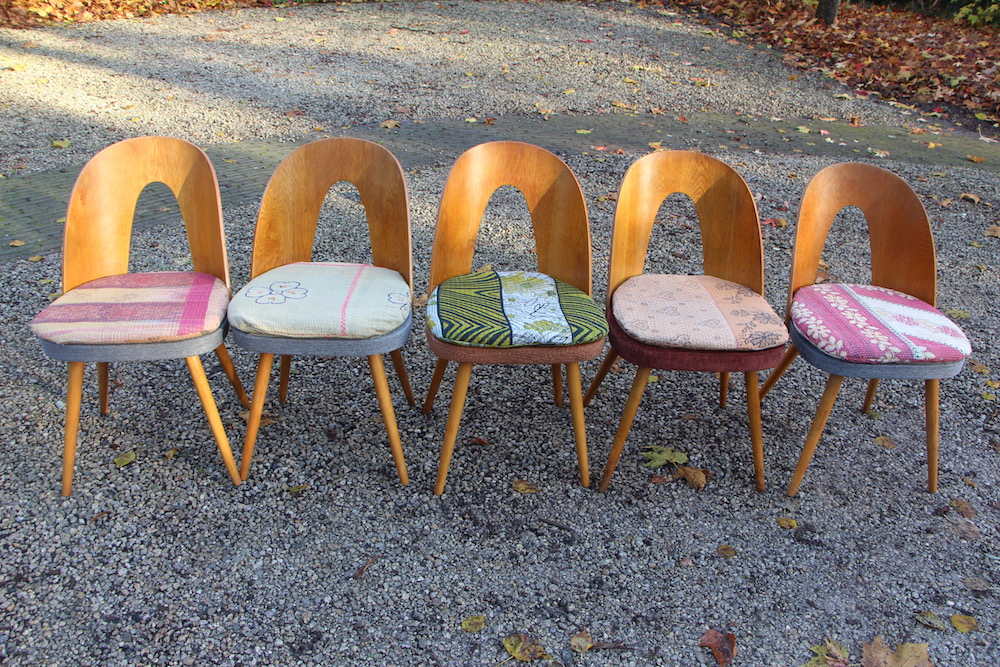 Antonin Susan chairs, manufactured by Tatra, vintage cushions