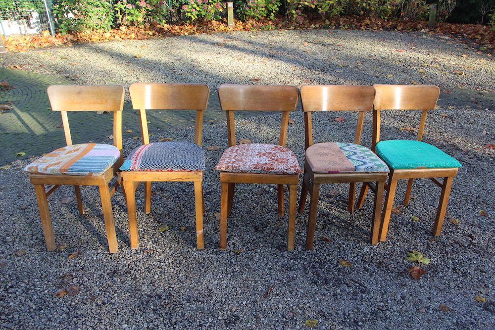 industrial chairs, vintage cushions