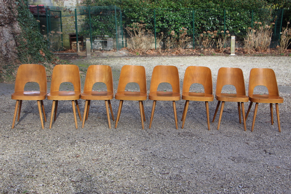 oswald Haerdtl vintage wooden dining chairs for Ton