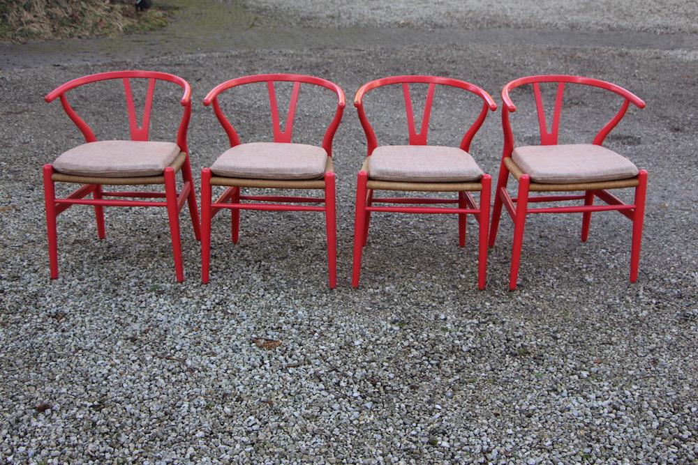 vintage Hans Wegner wishbone chairs, Y chairs, by Carl Hansen