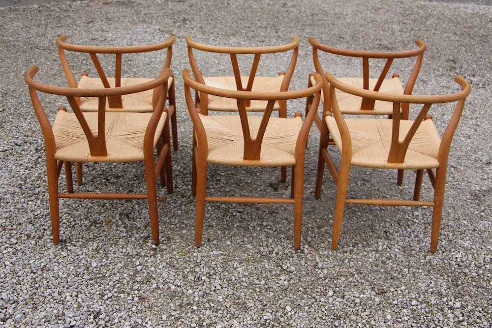 vintage Hans Wegner wishbone chairs, Y chair, Carl Hansen