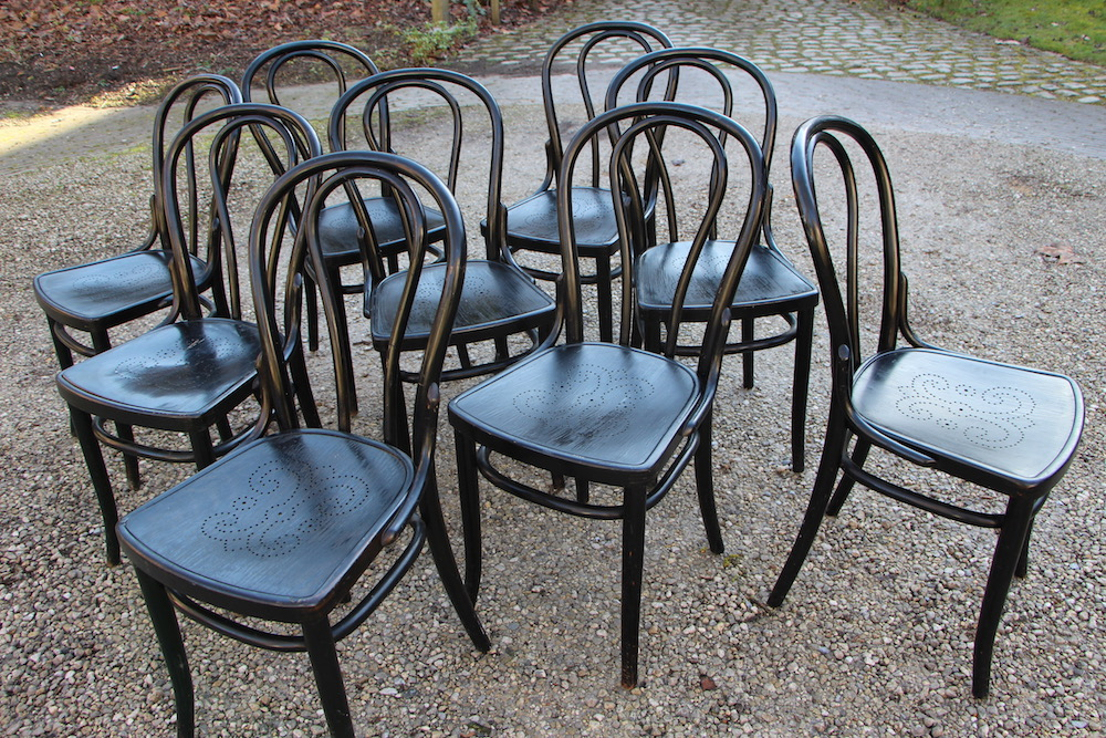 Authentic Thonet dining chairs, black, vintage