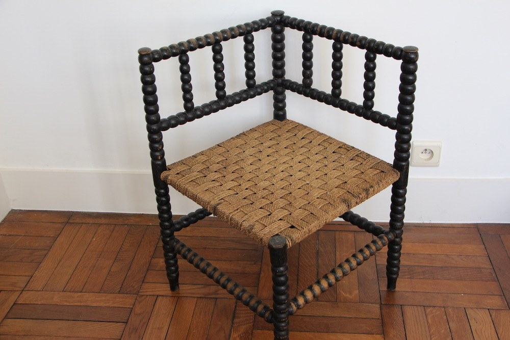 English wooden corner chair, vintage