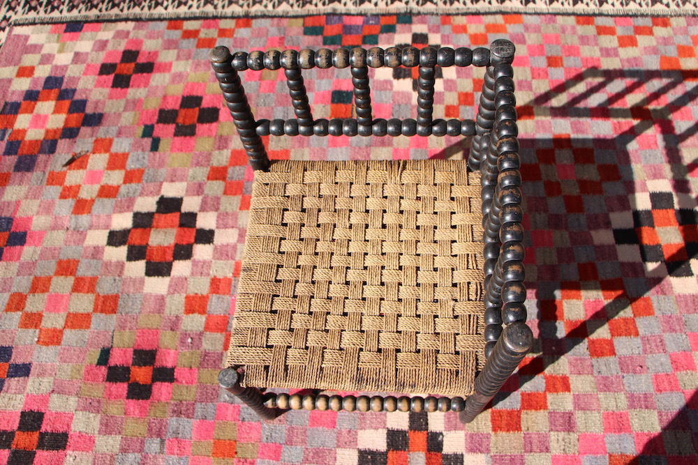 English wooden corner chair, vintage
