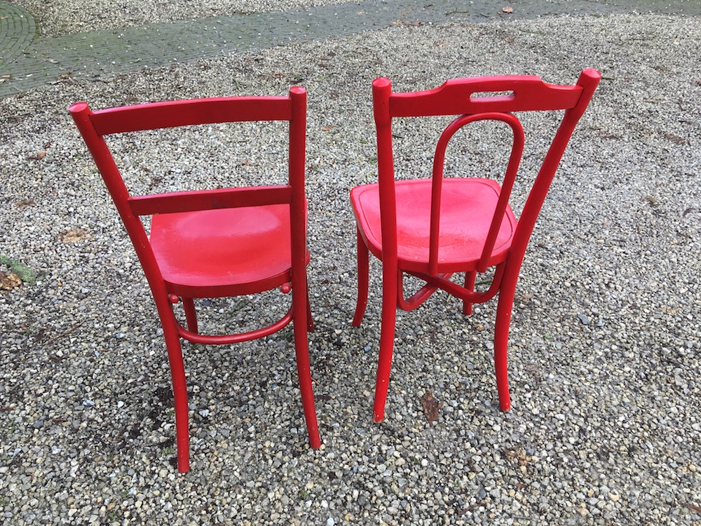 red chair, vintage chair, wooden chair, red painted chairs