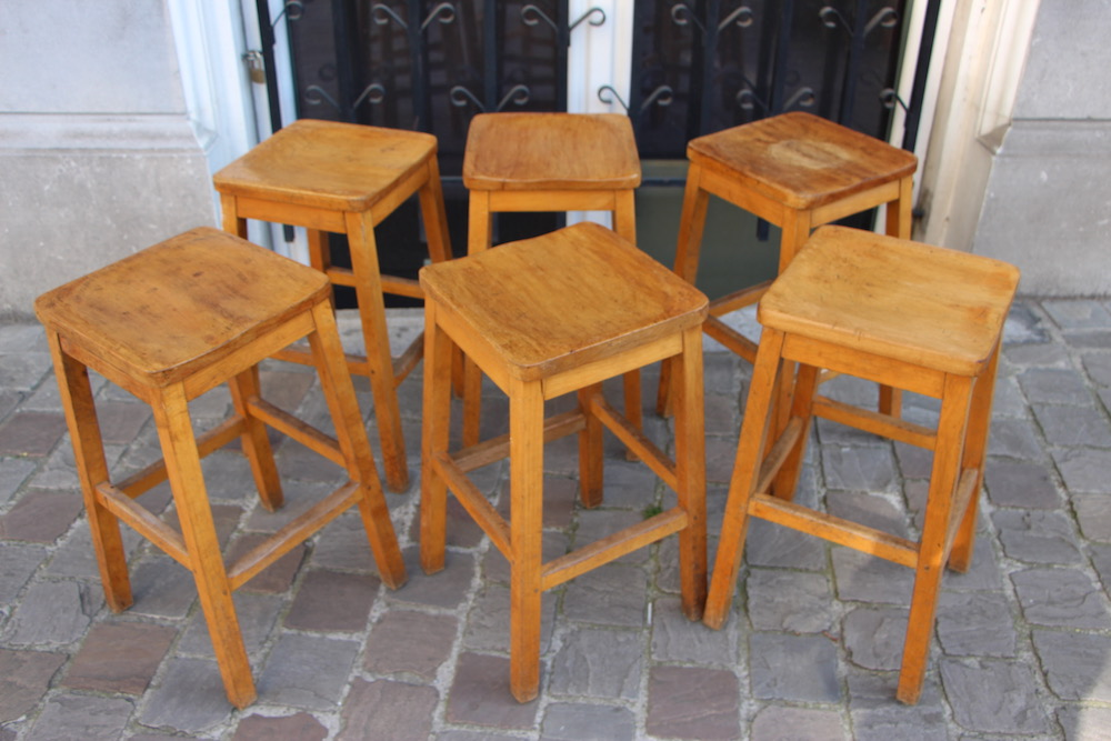 wooden bar stools, vintage