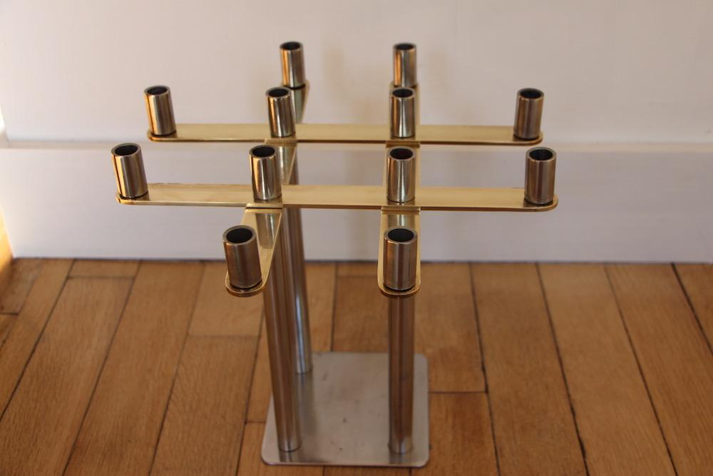seventies chandelier, vintage, brass