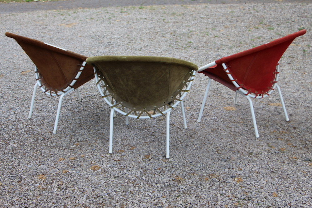 vintage Lusch&co lounge chairs, suede chairs, balloon chairs