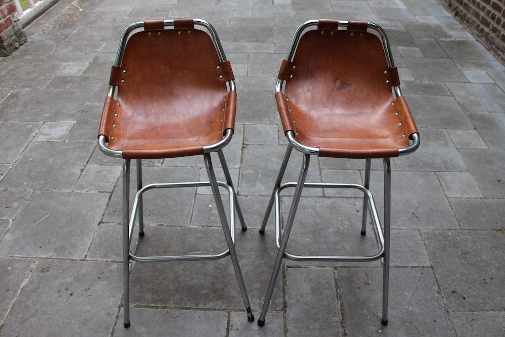charlotte perriand, barstools, leather barstools, vintage barstools