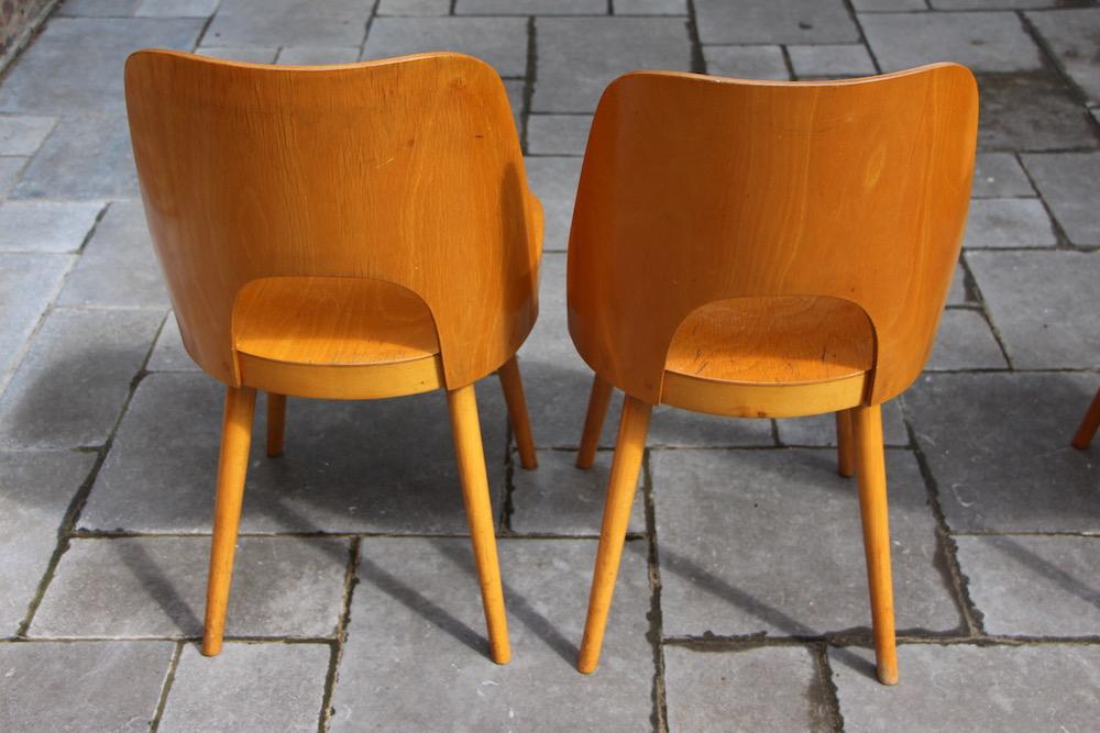 Oswald Haerdtl dining chairs, vintage, Ton