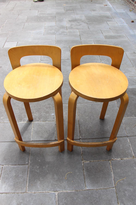 Alvar Aalto K65 stools, vintage, Artek, birch, low back stool