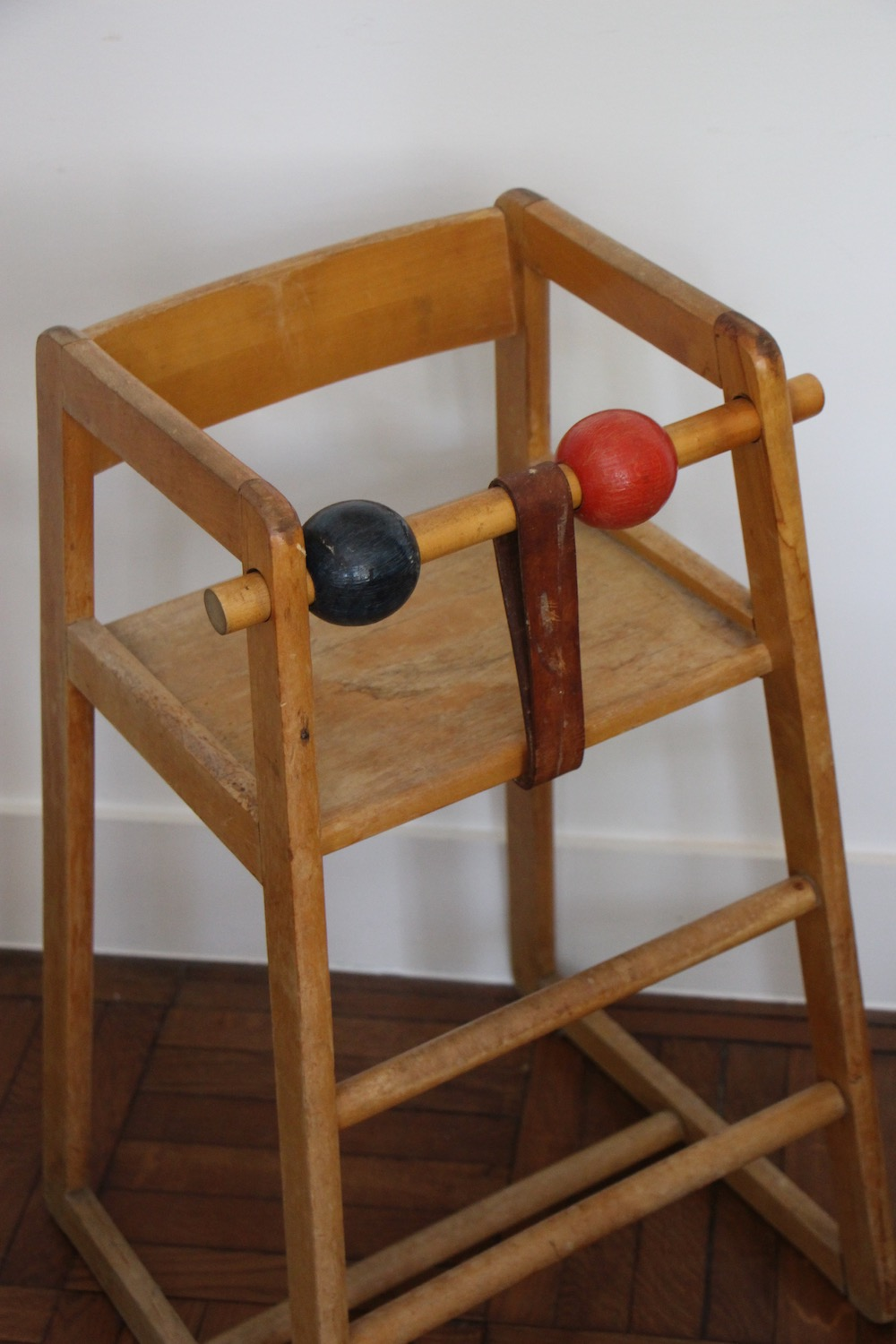 vintage wooden high chair for kids