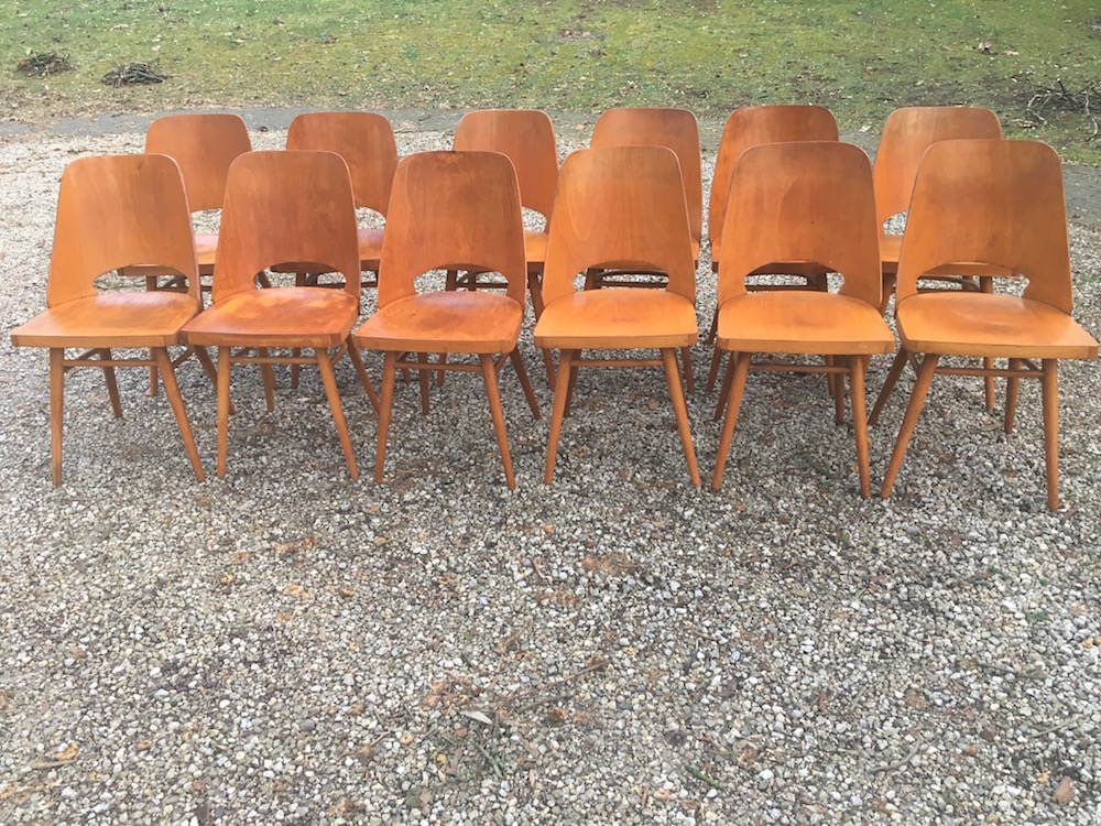 Radomir Hofman, vintage chairs, wooden chairs, Czech chairs, Ton