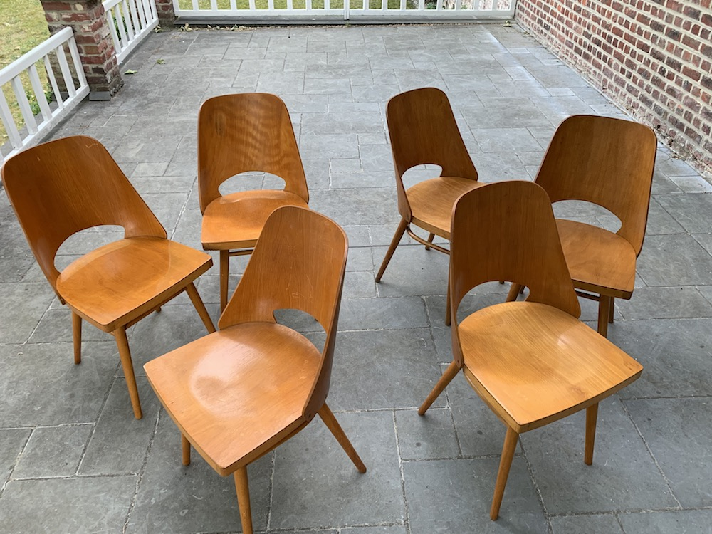 dining chairs, radomir hofman dining chairs, radomir hofman, vintage chairs, czech design, european design, chairs, dining chairs, wooden dining chairs, charming chairs, chaises bois, chaises vintage