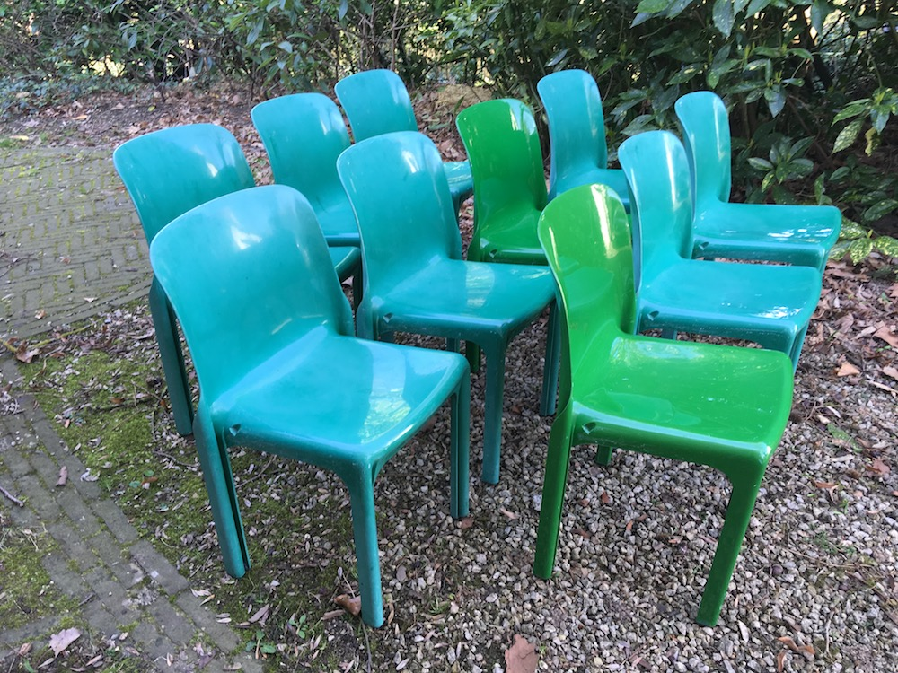 Vico Magistretti, Selene, stackable chairs, vintage chairs, garden chairs, Artemide