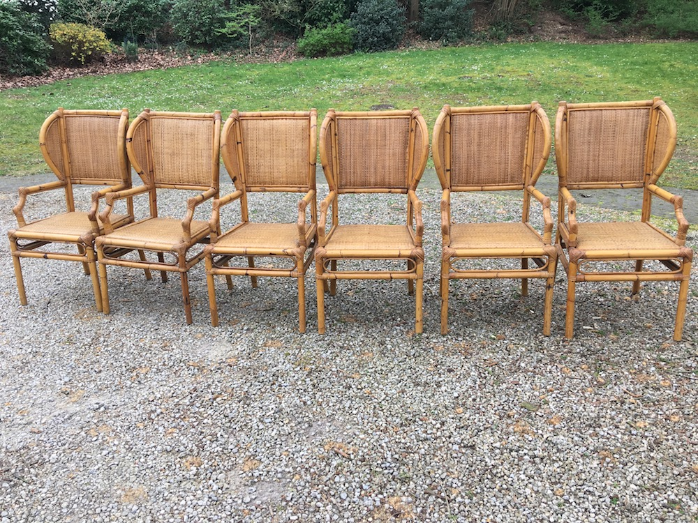 set of vintage bamboo chairs, vintage chairs, outdoor chairs