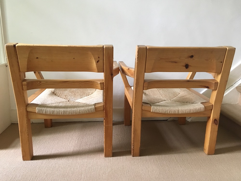 vintage pair of lounge chairs, armchairs, Tage Poulsen, Danish armchairs, Danish lounge chairs, vintage design, Scandinavian lounge chairs, shaker style, wooden lounge chairs, wooden armchairs, Danish design, Danish lounge chairs, Tage Poulsen