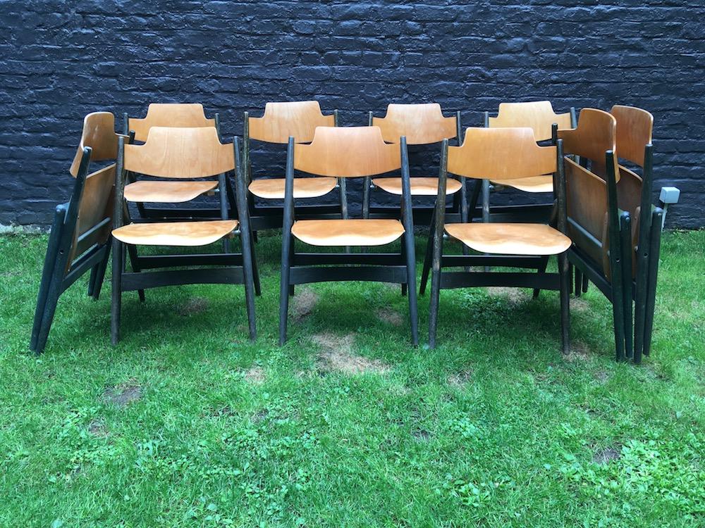 Egon Eiermann SE 18, Egon Eiermann chairs, vintage folding chairs, chaises pliantes vintage, wooden chairs vintage, vintage dining chairs