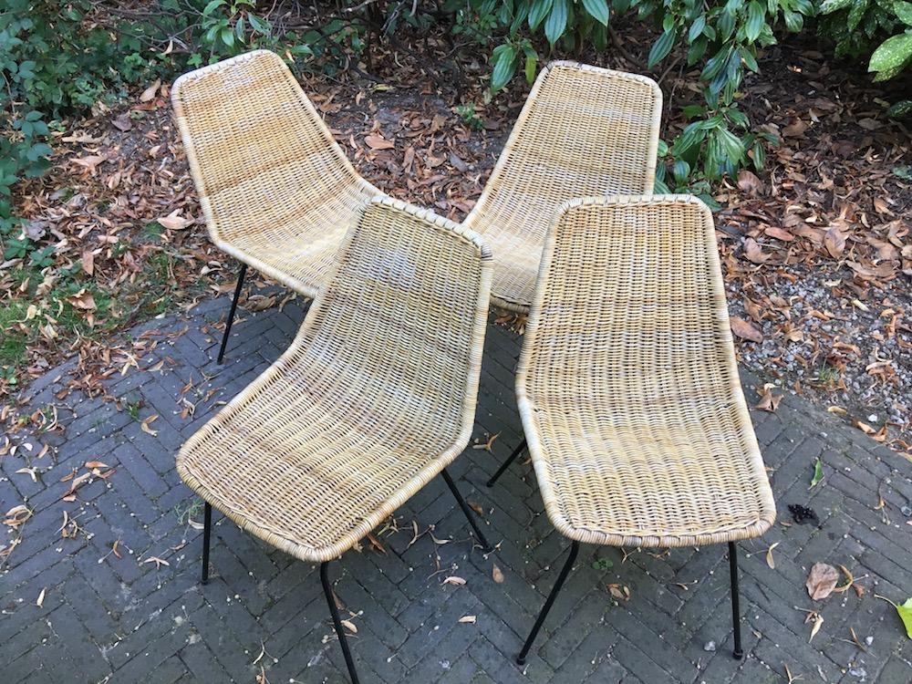 Noordwolde, rattan chairs, vintage rattan chairs, Dirk van Sliedregt, dining chairs, vintage dining chairs