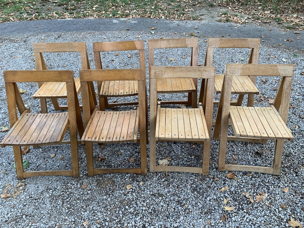 vintage wooden chairs, folding chairs, chaises pliantes, Aldo Jacober, Aldo Jacober style, sixties chairs, chaises vintage, chaises design, dining chairs, vintage dining chairs