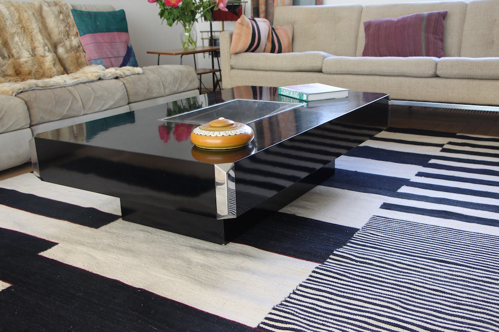 Black coffee table by Willy Rizzo for Mario Sabot