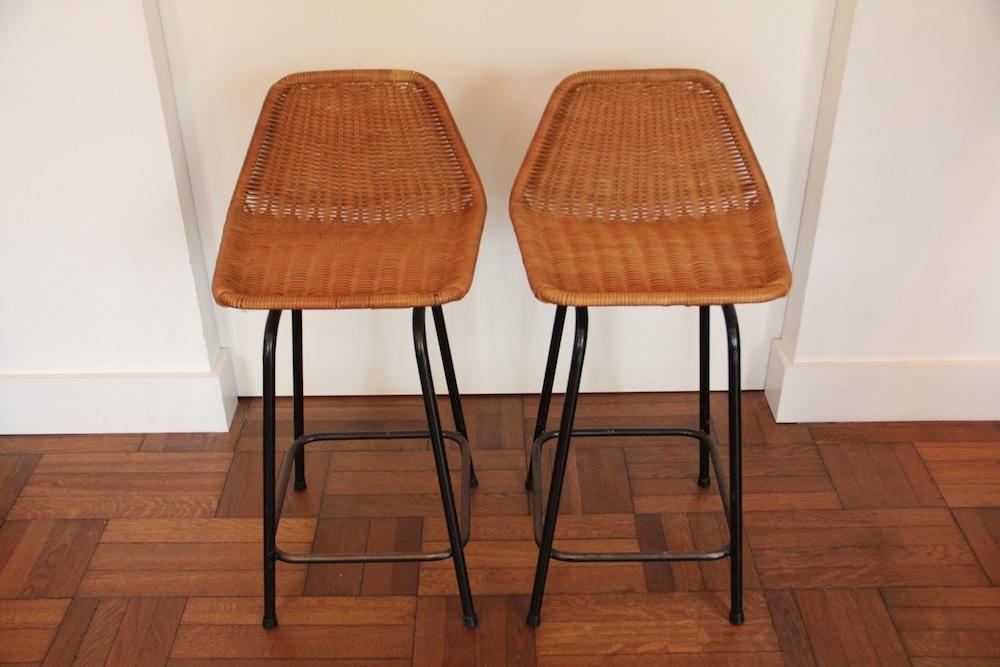 Vintage rattan stools
