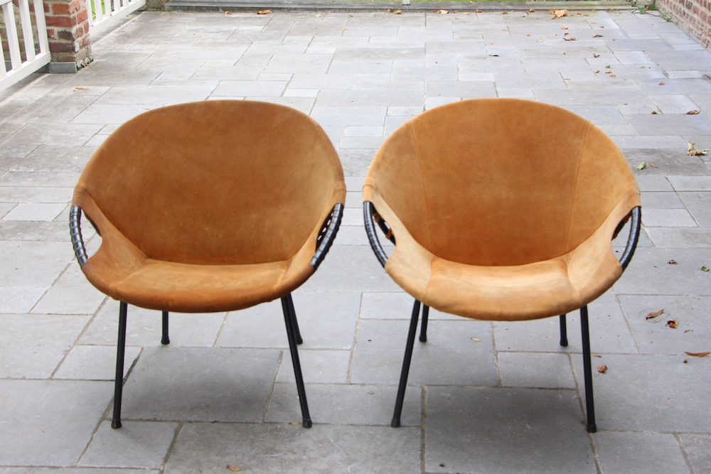 pair of suede round chairs, vintage