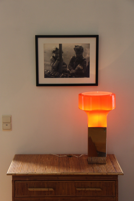 Vintage orange opaline table lamp