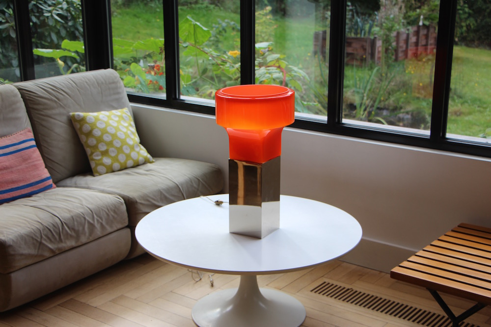 Vintage orange opaline table lamp