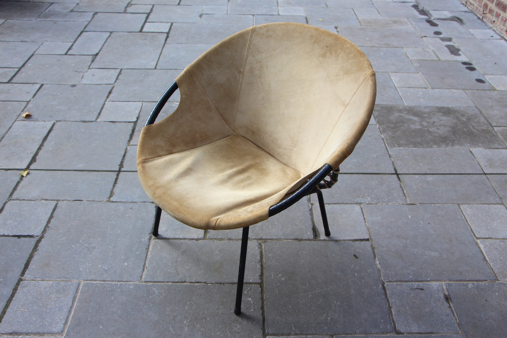 suede round chair, vintage