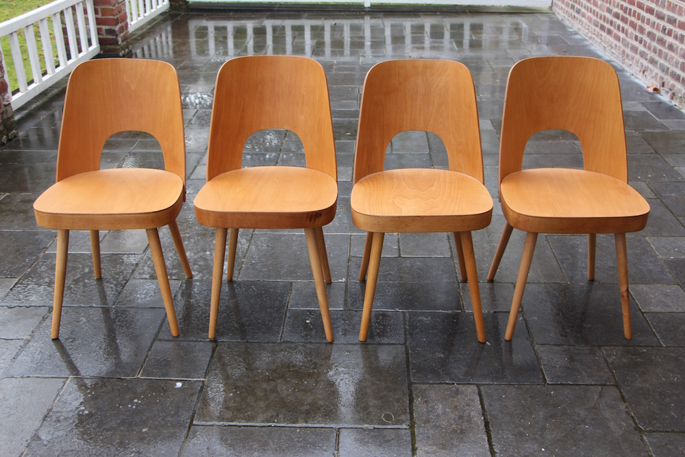 vintage Oswald Haerdtl dining chairs, produced by Thonet