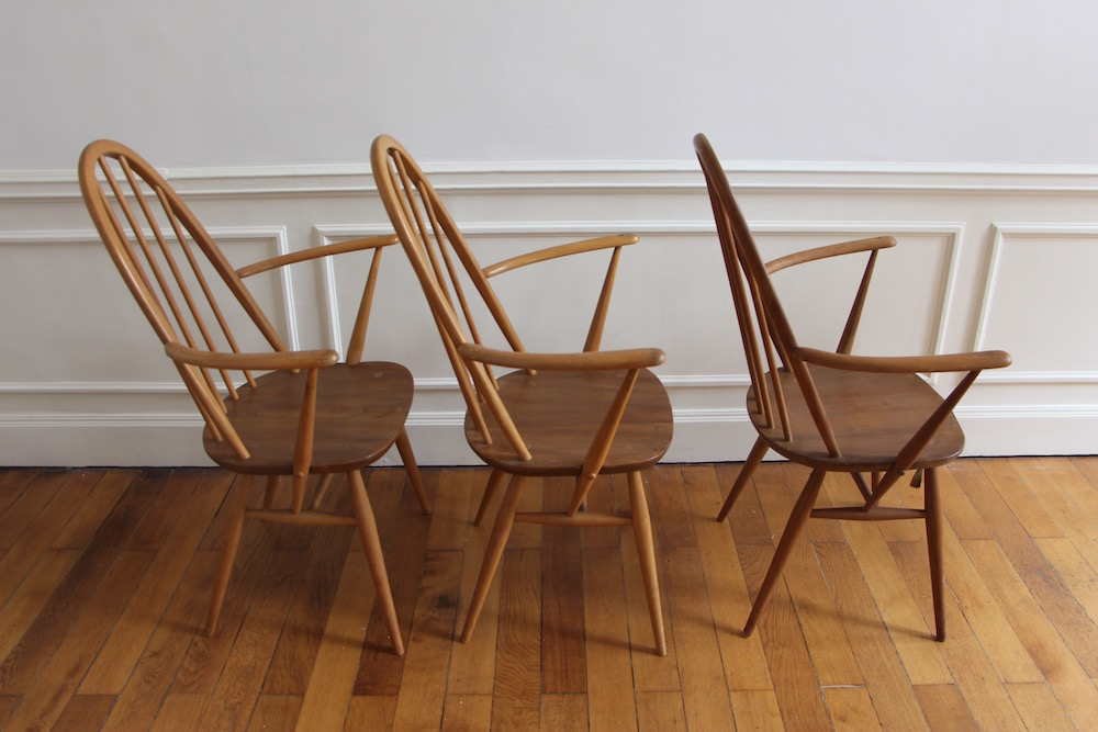 set of Ercol chairs, vintage