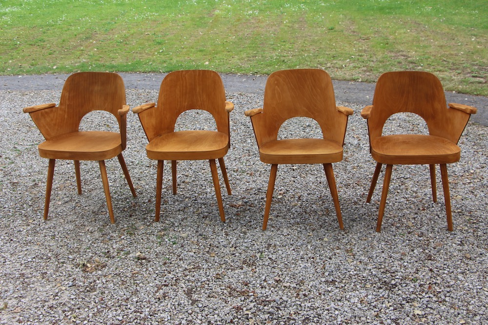 vintage set of Oswald Haerdtl chairs for Ton
