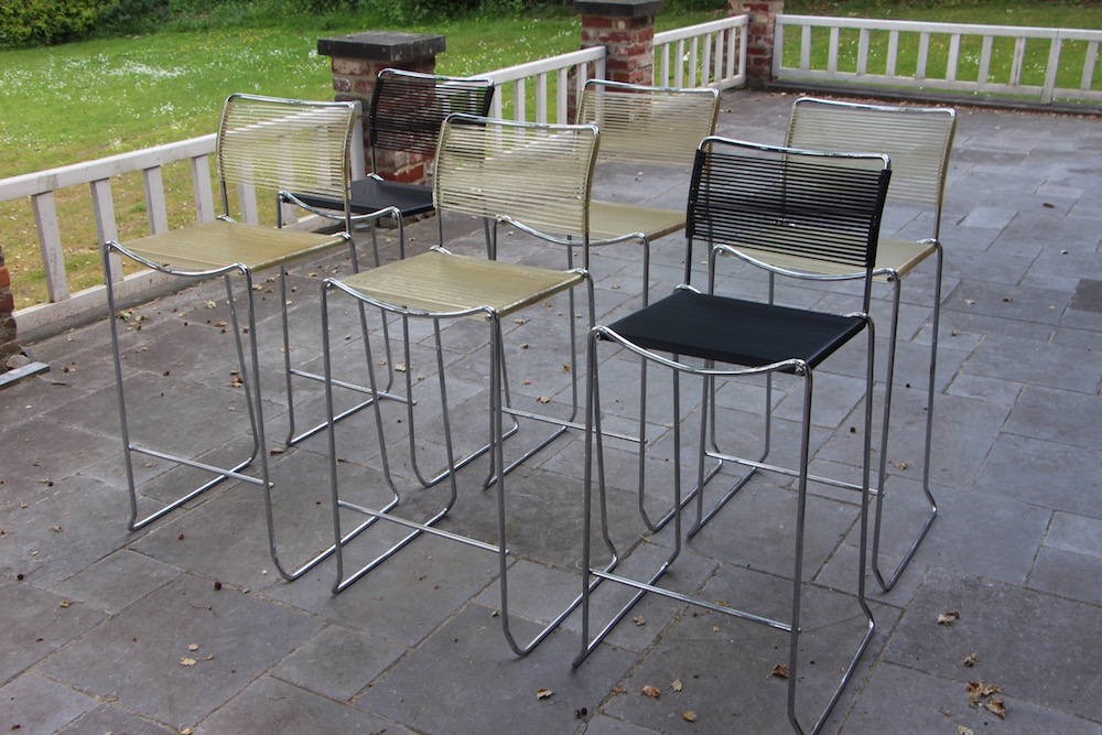 vintage stackable barstools, Giandomenico Belotti, spaghetti chairs