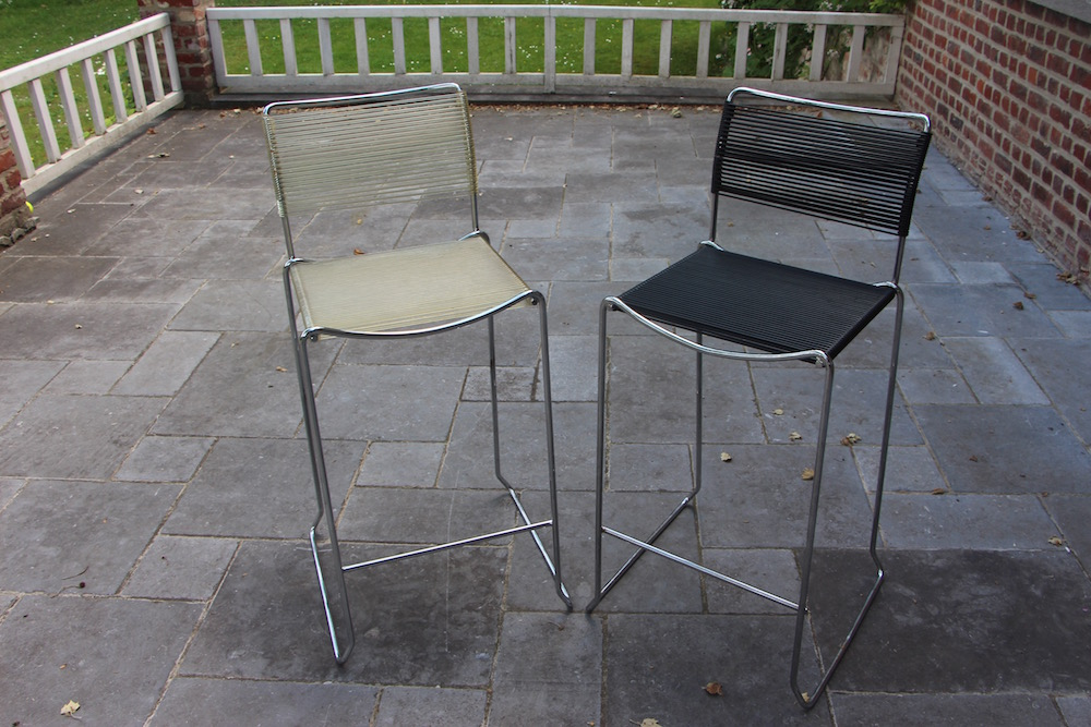 vintage stackable barstools, Giandomenico Belotti, spaghetti chairs