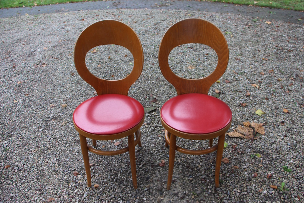 set of vintage Baumann chairs, mouette
